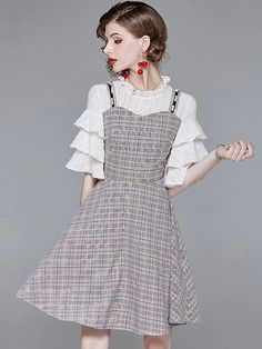 Fake Two Piece Plaid Flare Sleeve A-Line Dress