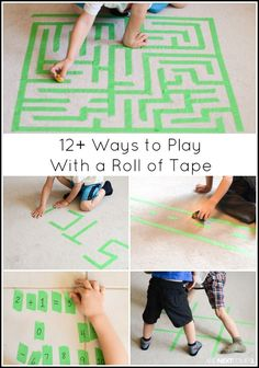 Fun boredom buster ideas for kids using only a roll of tape from And Next Comes L
