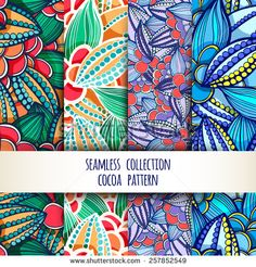 Vector illustration. Set. seamless patterns of stylized leaves and fruits of cocoa beans. - stock vector
