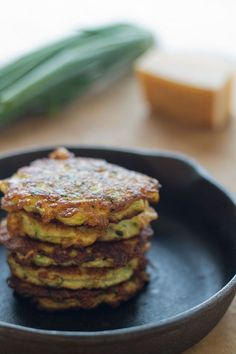 Zucchini Fritters - I didn't even have all this called for and they turned out ahMaSing!!!! If you just have the zucchini, almond flour, eggs and oil for frying - you can make it up after that. (I added some greek seasoning and they were so good!)