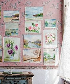 I can imagine pinning all my paintings and watercolors the wall like this, how lovely
