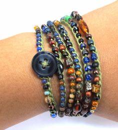 "Crochet wrap bracelet or necklace, beaded, ""olive leaf"", olive green, brown, fall fashion, bohemian jewelry, crochet jewelry, fiber jewelry. $30.00, via Etsy."