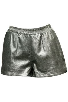 ROMWE | Metallic Coated Silver-grey Shorts, The Latest Street Fashion