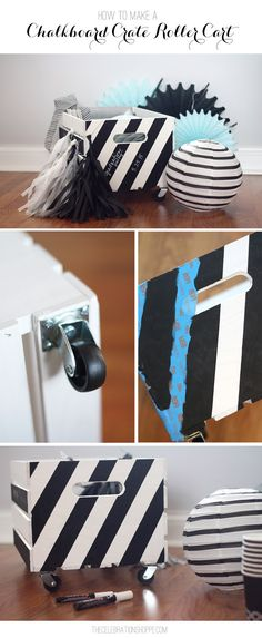 DIY Chalkboard Roller Cart Crate // Easy DIY Organization Idea