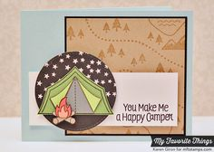 Hand Stamped Greeting Card  Happy Camper by karengdesigns on Etsy