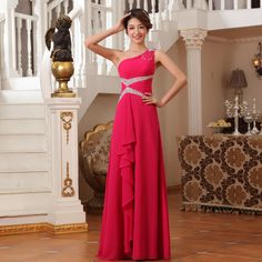2014 new arrival Chiffon One Shoulder long Evening Dresses Formal Gown Crystals Beaded Sequins party dresses Free shipping-inEvening Dresses from Weddings & Events on Aliexpress.com | Alibaba Group