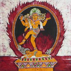 Lord Shiva as Nataraj (Batik Painting on Cotton Cloth - Unframed)