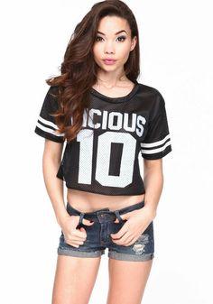 Vicious Athletic Crop Top, BLACK, large