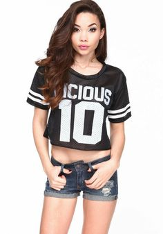 Vicious Athletic Crop Top, BLACK, large