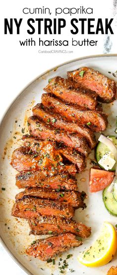 New York Strip Steaks (Grilled or Skillet) bathed in HARISSA BUTTER are juicy, buttery tender and dripping with flavor in every smoky, caramelized, charred crust bite! Easy recipe with minimal seasonings and simple prep! #recipes #easyrecipe #recipes #recipeoftheday #recipeideas #recipeseasy #grilling #grillingecipes #steak #steakrecicpes #NewYorkStripsteak #NewYorksteak #NYsteak #NYstrip #NYstripsteak #stripsteak #harissa #cumin #sweetpaprika #beststeakrecipe Ny Steak, Ny Strip Steak, How To Grill Steak, Beef Steak, Entree Recipes, Steak Recipes, Grilling Recipes, Easy Dinner Recipes, Easy Recipes