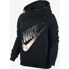 Nike Rally Metallic Funnel Neck Pullover Women's Hoodie. Nike.com ($65) ❤ liked on Polyvore featuring tops, hoodies, funnel-neck hoodies, hooded sweatshirt, nike pullover, hooded pullover and sweater pullover