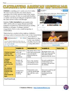 You won't believe how great this lesson is! Click to find out what happens next! :) Haha - fun activity for imperialism using clickbait to learn about Yellow Journalism!