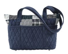 "Kingsbury Taylor Quilted Handbag by Bella Taylor. The Kingsbury Collection comes in a sophisticated patchwork of navy and gray plaids and tweeds with chic navy micro-suede accents on the trim. The Taylor measures 11x3.5x8.25"" with 2 26.5"" straps that give an 11.75"" shoulder  drop, plus 6 outside slip pockets, 1 inside zip pocket, 3 inside slip  pockets, a top zip closure, metal studs that act as 'feet' and a hidden  pocket in the base to hold the removable plastic stability insert."