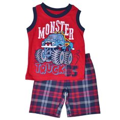 Little Rebels Red 'Monster Truck' Tank & Plaid Shorts - Infant Toddler Boy Fashion, Toddler Boy Outfits, Toddler Boys, Kids Boys, Kids Outfits, Kids Fashion, Baby Boy Suit, Polo Outfit, Cute Boy Outfits