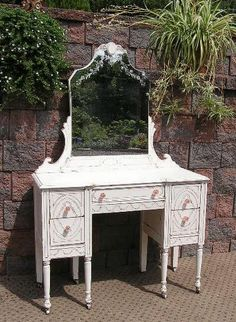 Shabby Cottage White CHIC VANITY Dressing Table Etch MIRROR