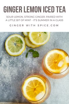 Ginger Lemon Iced Tea - so so refreshing! With the sour lemon, strong ginger and paired with a little bit of mint, it's Summer in a glass. Click for the recipe. #ginger #lemon #icedtea #tea #summer #recipe #food