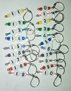 Removable Stitch Markers for Knitting or Crochet Numbered 0 to 19 Leverback Rainbow