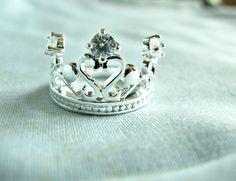 Silver crown ring tiara ring wide ring rhinestone by caylajewel, $19.00
