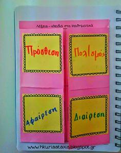 Η κυρία Αταξία, εποπτικό υλικό, βοήθημα, Μαθηματικά, λέξεις - κλειδιά, 4 πράξεις, Τμήμα Ένταξης, Μαθησιακές Δυσκολίες, λεξιλόγιο Μαθηματικών, τρίπτυχο