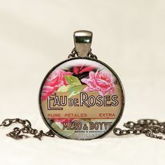 Vintage French Perfume Ad Glass Pendant Necklace in Antique Silver with free chain CA12 by prideandpendants on Etsy