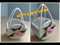 DIY Basket: Beautiful DIY handmade bag from rope - Design Cd Crafts, Jute Crafts, Diy Home Crafts, Craft Stick Crafts, Decor Crafts, Cd Diy, Diy Bag Designs, Diy Handmade Bags, Crochet Applique Patterns Free