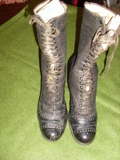 Ladies Victorian/Edwardian High Silk Laced/Silked Lined Boots | eBay