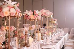 simple and elegant table decoration with many kind of flowers (imported pink hydrangea, white and pink roses, chrysan, cymbidium etc)