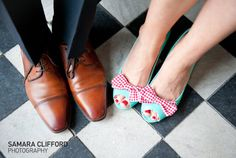 Shoe clips! Who would've thought - LOVE the red and white gingham on the blue shoe!