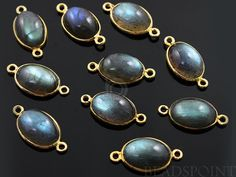 Natural Labradorite Bezel Oval Component 24K Gold by Beadspoint, $7.99