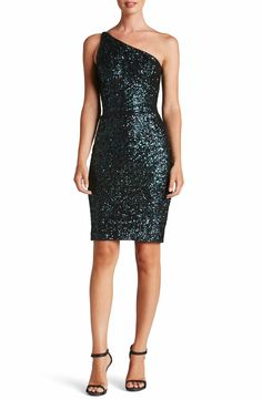 IN 4 Colors!  Dress the Population Cher One-Shoulder Sequin Body-Con Dress. One beautifully tapered strap streamlines the sleek body-con fit of this festive mini covered in sequins, perfect for showing off curves.