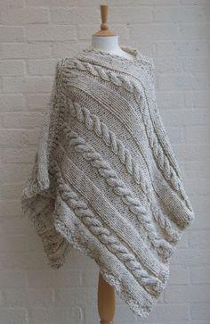 Chunky knit Oatmeal Poncho/ Women Poncho by StripesnCables on Etsy, Poncho Crochet, Poncho Knitting Patterns, Poncho Shawl, Loom Knitting, Knit Patterns, Free Knitting, Knitting Machines For Sale, Knitted Bags, Vogue Knitting