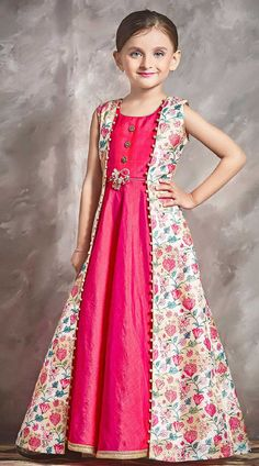 Buy Striking Beautiful Printed Kid Girl Gown for Festival is Jacket Style Gown. Pink and Cream Kids Girl Gown with Print and Lace Work. Girls Frock Design, Kids Frocks Design, Baby Frocks Designs, Baby Dress Design, Kids Gown Design, Long Frocks For Kids, Frocks For Girls, Gowns For Girls, Dresses Kids Girl