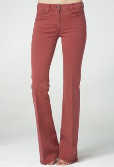 The MiH Jeans Marrakesh Union Red - high-rise flare with jet front pockets.