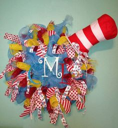 Custom made Dr Seuss Wreath by MeshinAround12 on Etsy, $75.00 - so want this for my classroom - change initials to McBride