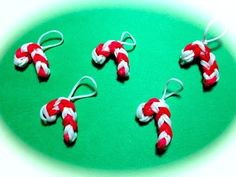 ▶ Made by Mommy's Candy Cane Charm on One Rainbow Loom - YouTube