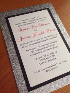 Silver Bling Glitter Wedding Invitation by CCPrintsbyTabitha, $1.70