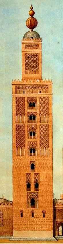 La Giralda de Sevilla en época almohade, según una lámina de Alejandro Guichot.