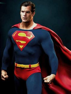 Superman - Henry Cavill in a similar Superman suit worn by Christopher Reeve Batman Vs Superman, Superman Suit, Superman Artwork, Superman And Lois Lane, Supergirl Superman, Superman Movies, Superman Family, Superman Man Of Steel, Dc Movies