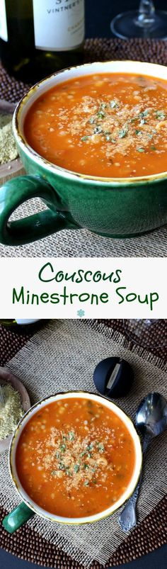 Couscous Minestrone Soup is an easy and super good soup that is made all in one big pot. Thank goodness soup is loved year round because this recipe will satisfy your craving.