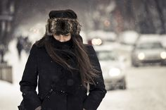 the hair, the wind, the bokeh and the snowflakes (explored) by stephane (montreal), via Flickr