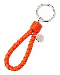 Braided Loop Key Ring, Tangerine Orange by Bottega Veneta at Neiman Marcus.