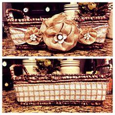 Embellished Burlap Basket. #brffco #embellished #burlap #basket #burlapbasket #youcanbuyme #forsale #burlaproses #burlapflowers #gift #gifts