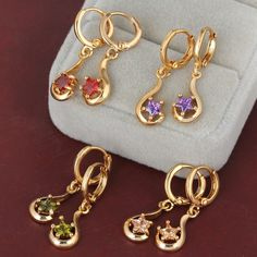 18K Gold Plated Fashion Beautiful Lovely Design Copper Star Dangle Earrings Wedding Jewelry