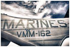 Aviation Photography, Marine Corps V-22 Osprey Fuselage Badging: MARINES, Metallic Photographic Print