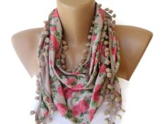 girly scarf, women fashion accessories , pink green beige floral print scarf with pom pom trim , for her via Etsy