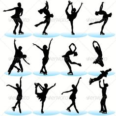 Figure Skating Silhouettes Set Royalty Free Cliparts, Vectors, And Stock Illustration. Ice Skate Drawing, Ice Skating Quotes, Figure Skating Quotes, Skating Pictures, Ice Skaters, Figure Skating Dresses, Winter Pictures, Roller Skating, Winter Sports