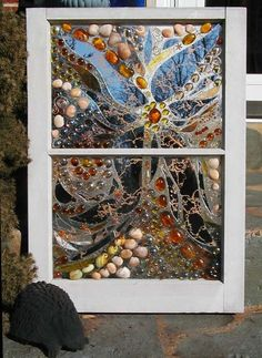 This Garden Glass Window is called 'Star Mosaic'. Mosaic Crafts, Mosaic Projects, Mosaic Art, Mosaic Glass, Mosaics, Mosaic Garden, Sea Glass Art, Stained Glass Art, Stained Glass Windows