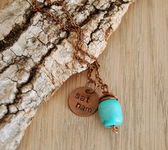turquoise yoga necklace  sat nam charm  yoga jewelry by OmSaha