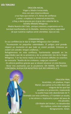 DÍA TERCERO – NOVENA A LA VIRGEN DE LA MEDALLA MILAGROSA  Oh María, Sin Pecado Concebida…