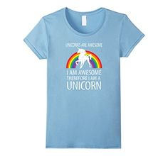 Women's Unicorns Are Awesome Therefore I am A Unicorn Shirt Small Baby Blue – Friendly Faces